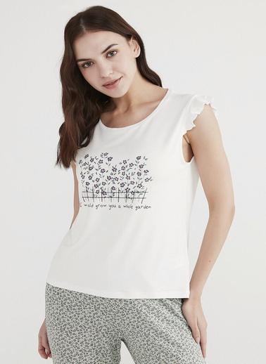 Penti Kadın Beyaz Ditys Garden Tişört PNX199TM21IY Beyaz